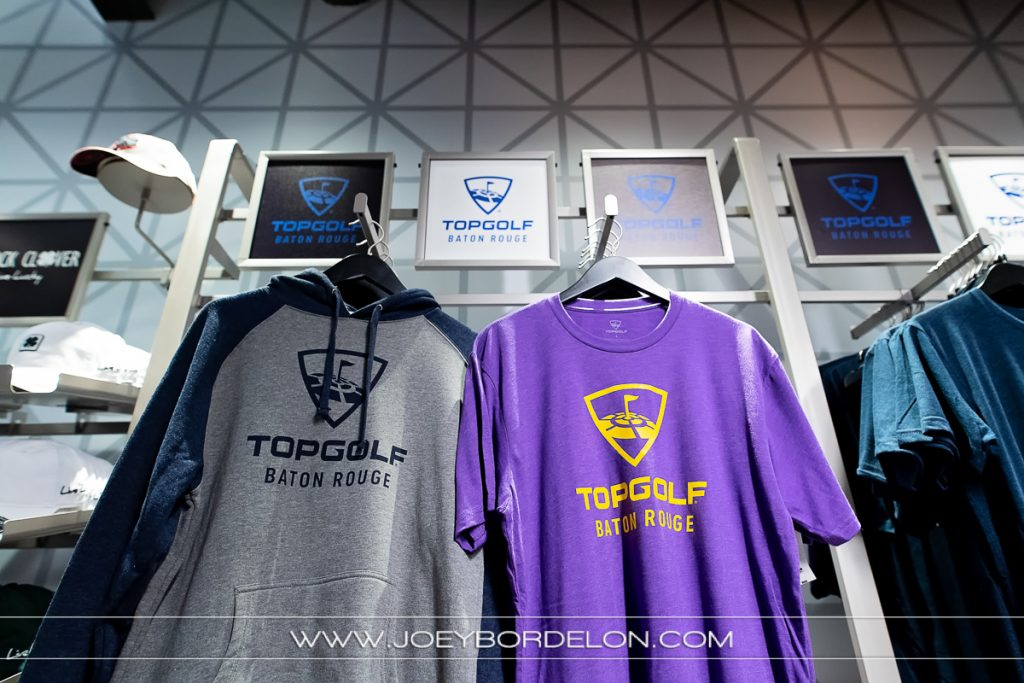 T-shirt mercahndise offered at the Baton Rouge location of Top Golf